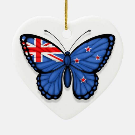 New Zealand Butterfly Flag Christmas Tree Ornaments