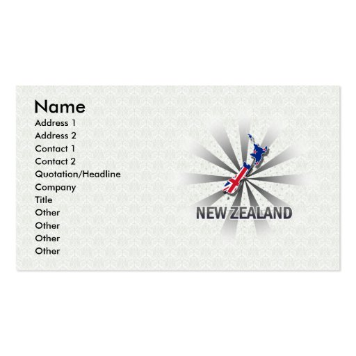 New Zealand Flag Map 2.0 Double-Sided Standard Business