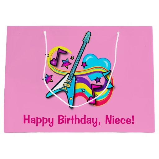 Niece Guitar, Rainbow, Hearts Happy Birthday Large Gift