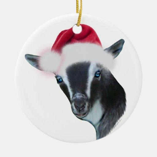 Nigerian Dwarf Goat Santa Hat Christmas Ornament | Zazzle