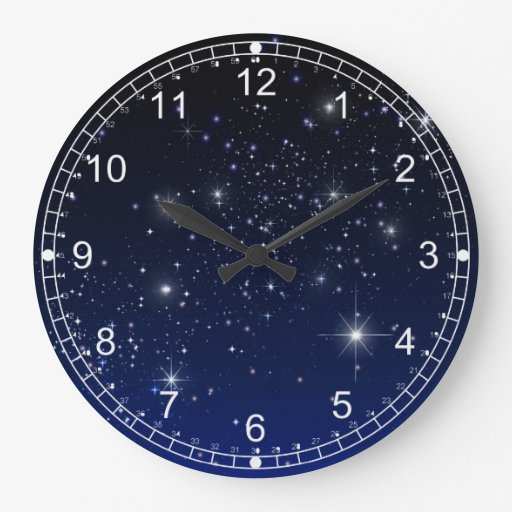 Night Sky Large Clock Zazzle