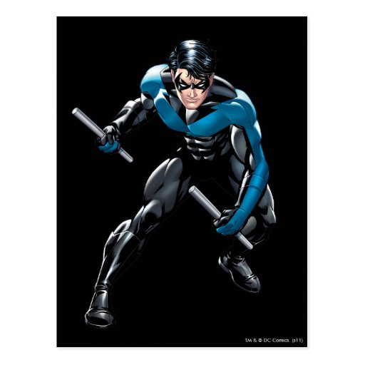 Nightwing with Weapons Postcard | Zazzle