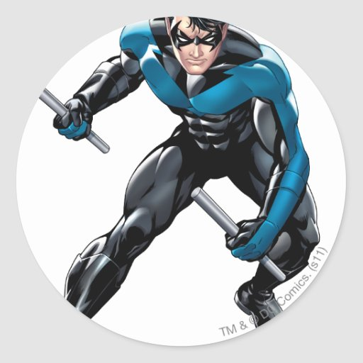 Nightwing with Weapons Sticker | Zazzle