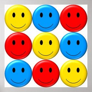 Nine Smileys - 9! on a poster zazzle_print