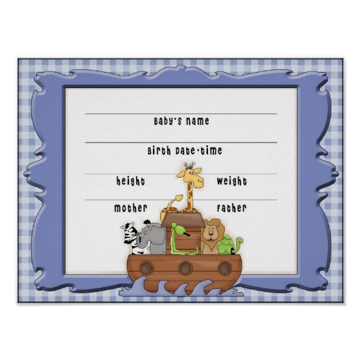 Noah 39 s ark boy birth certificate poster zazzle for Boy birth certificate template