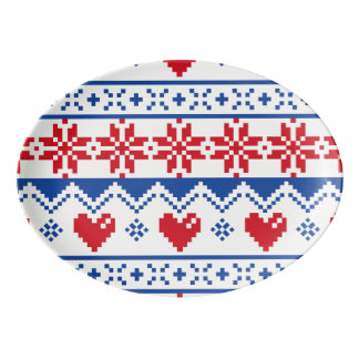 Christmas in Red & Blue Porcelain Serving Platter
