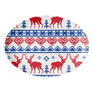 Reindeer Ugly Sweater Pattern Porcelain Serving Platter