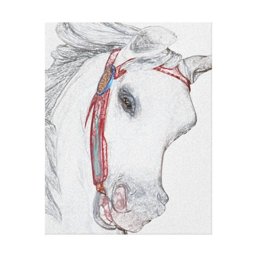 Nostalgic Carousel Horse Colored Pencil Drawing Canvas ...