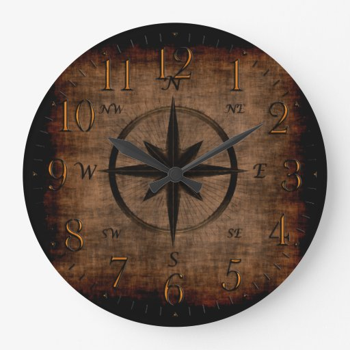 Nostalgic Old Compass Rose Large Clock Zazzle