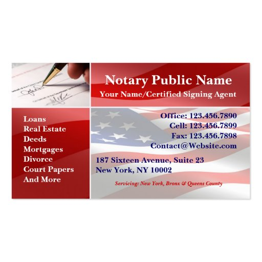 Notary Public Business Card Templates