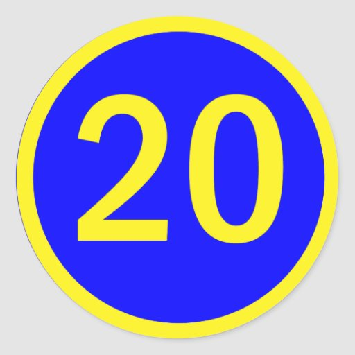 number 20 in a circle classic round sticker | Zazzle20
