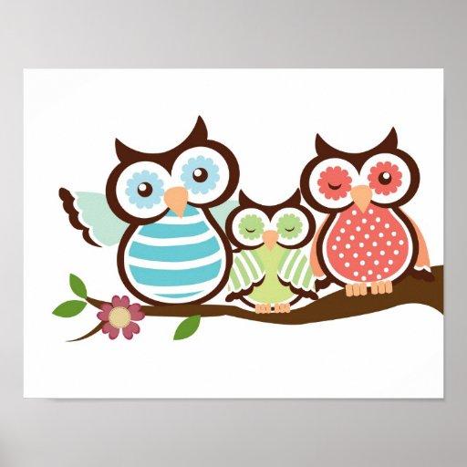Nursery owl art poster baby with mom dad | Zazzle