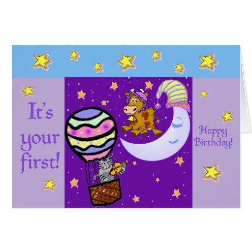 Birthday Card Template: Nursery Rhymes First Birthday Card Template