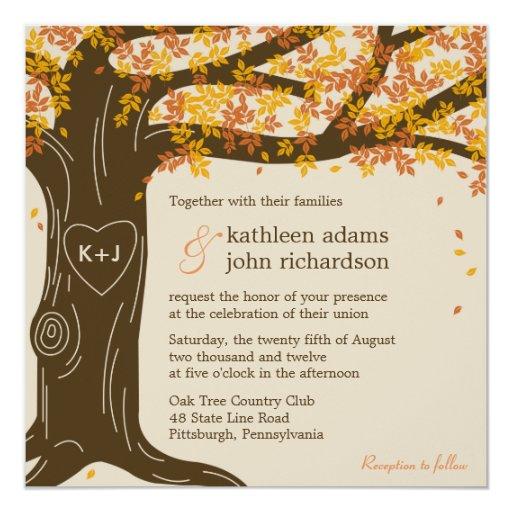 Fall Themed Wedding Invitations: Oak Tree Fall Wedding Invitation