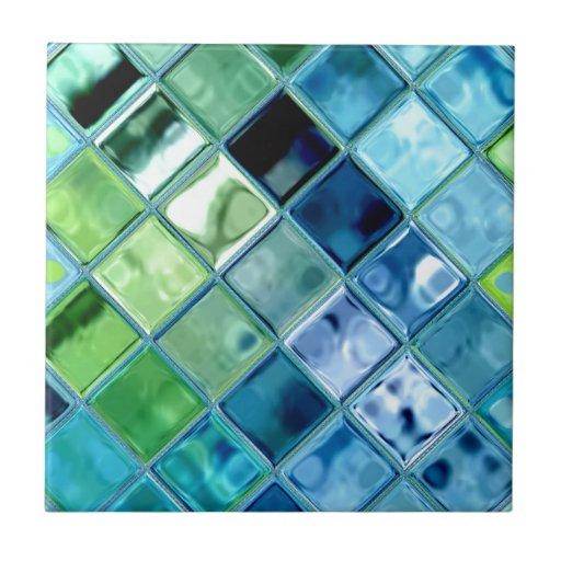 Ocean Teal Glass Mosaic Tile Art Zazzle