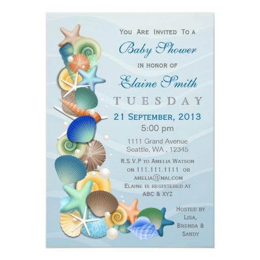 ocean theme blue baby shower invites zazzle. Black Bedroom Furniture Sets. Home Design Ideas