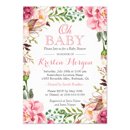 Oh Baby Shower Girly Elegant Chic Pink Flowers Card | Zazzle