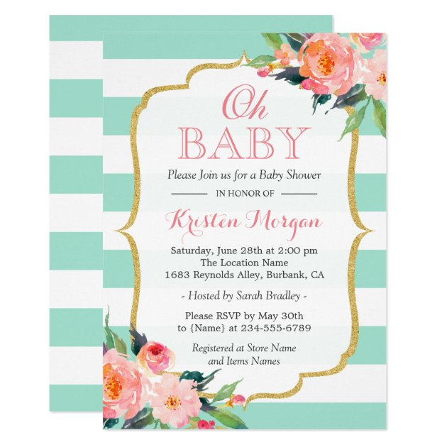 Personalized Mint Green Baby Shower Invitations