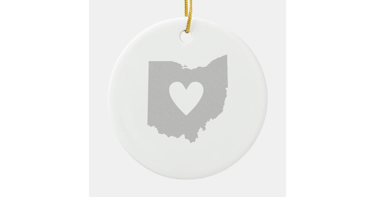 Ohio State Shape With Heart Ceramic Ornament Zazzle