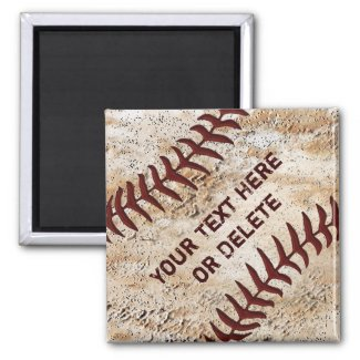 Old Baseball Magnets, Up Close Baseball Stitching 2 Inch Square Magnet