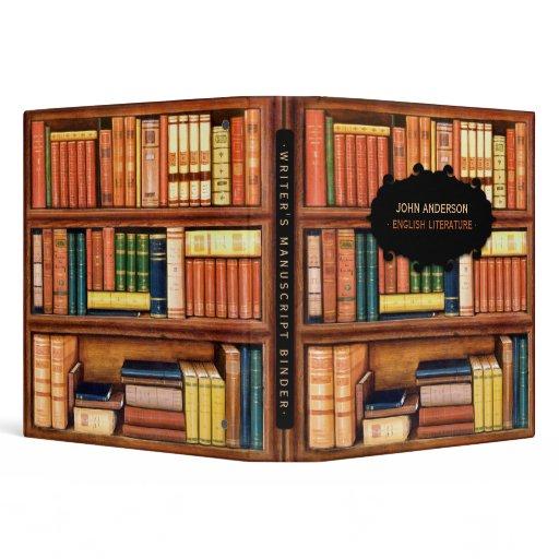 Old Books Vintage Library Bookshelf Binder