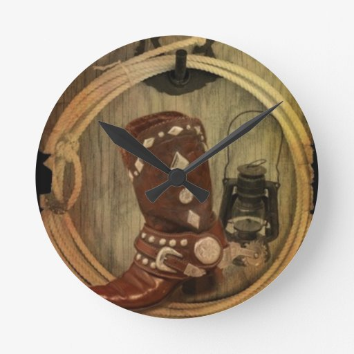 Old Country Western Cowboy Boot And Rope Clocks Zazzle