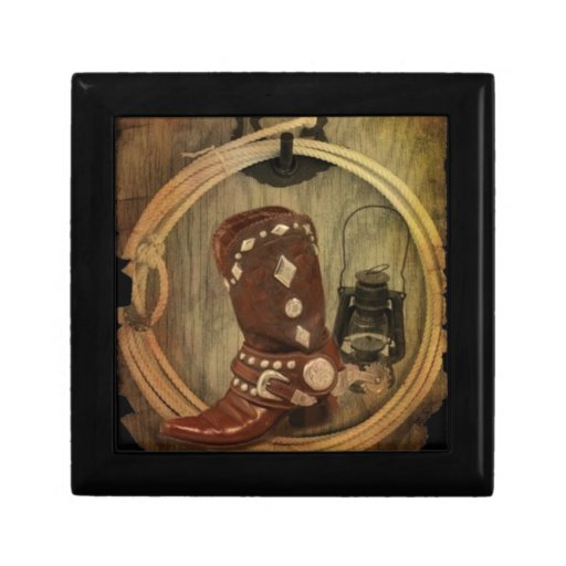 Old Country Western Cowboy Boot And Rope Jewelry Box Zazzle