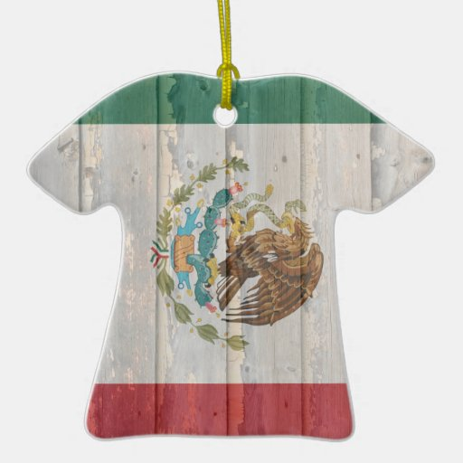 Old Faded Wood Mexican Flag Christmas Tree Ornaments