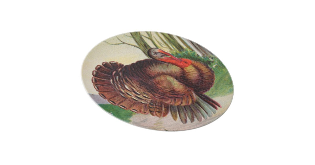 Old Fashion Turkey for Thanksgiving Dinner Plate   Zazzle
