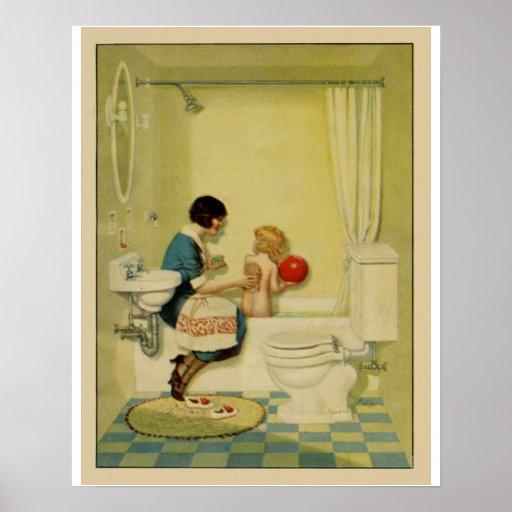 Old Fashioned Bathroom Scene Poster Zazzle