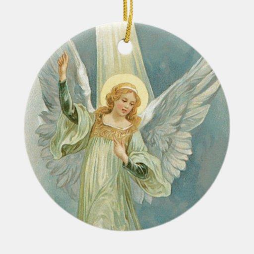 Old Fashioned Christmas Angel Gloria Ceramic Ornament   Zazzle