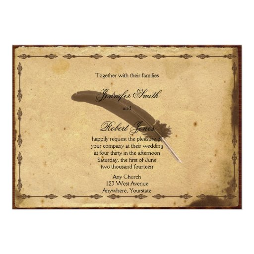 Wedding Invitations Old Fashioned: Old Fashioned Elegance Parchment Quill Wedding Custom