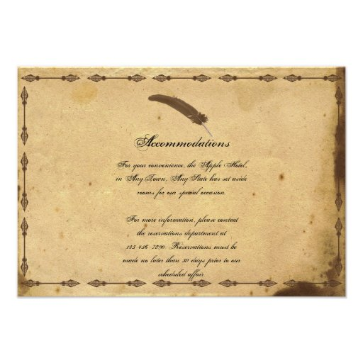 Wedding Invitations Old Fashioned: Old Fashioned Elegance Parchment Wedding Insert 3.5x5