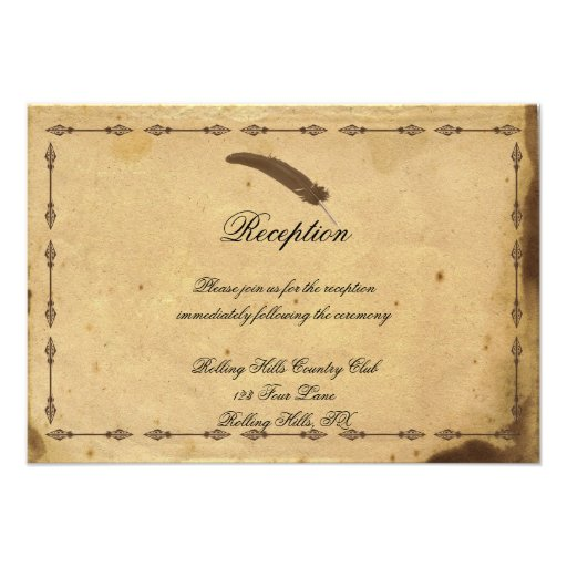 Wedding Invitations Old Fashioned: Old Fashioned Elegance Parchment Wedding Reception 3.5x5