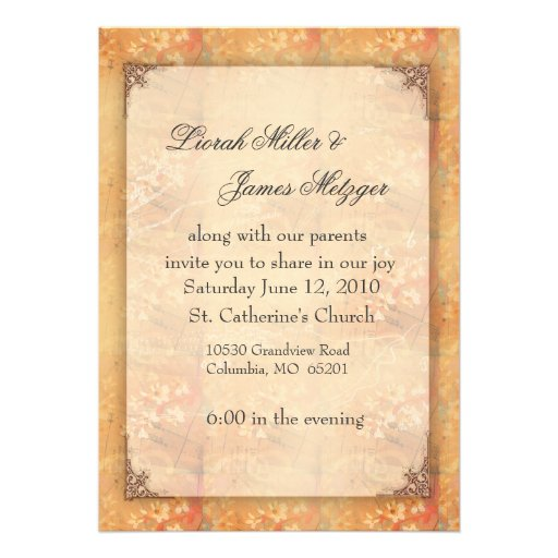 Wedding Invitations Old Fashioned: Old Fashioned Floral Wedding Invitation