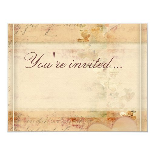 Wedding Invitations Old Fashioned: Old Fashioned Vintage Wedding Design 4.25x5.5 Paper
