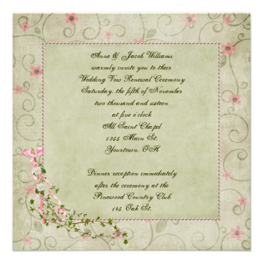 Wedding Invitations Old Fashioned: Old-fashioned Wedding Vow Renewal 5.25x5.25 Square Paper