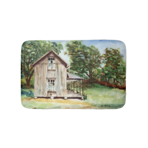 Old Florida Homestead Rustic Watercolor Painting Bath Mats