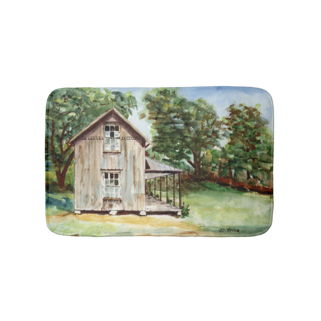 Old Florida Homestead Rustic Watercolor Painting Bath Mats