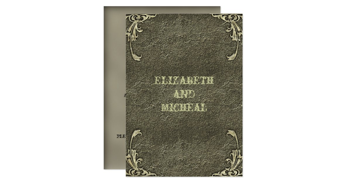 Gold Embossed Wedding Invitations: Old Gold Embossed Look Wedding Invitation