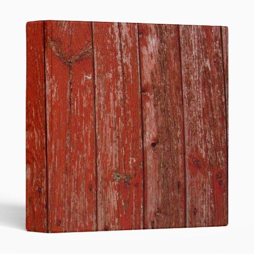 Old Red Wood 3 Ring Binders