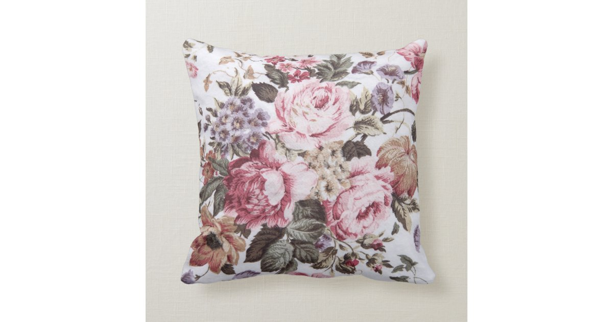Old roses vintage fabric throw pillow zazzle - Fabric for throw pillows ...