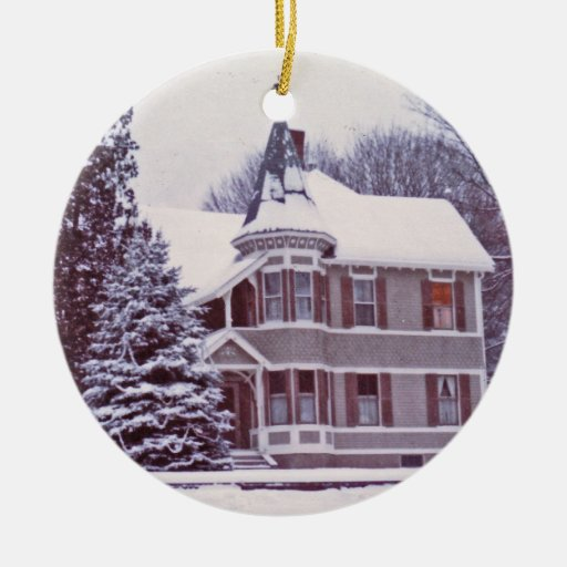 Old Victorian House With Customizable Text On Back Ceramic