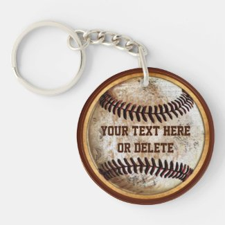 Old Vintage look Baseball Keychains PERSONALIZED