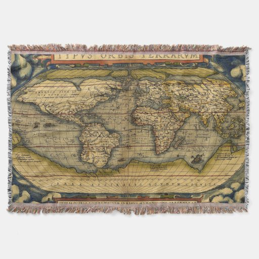 Old World Map Rugs Throw Blanket