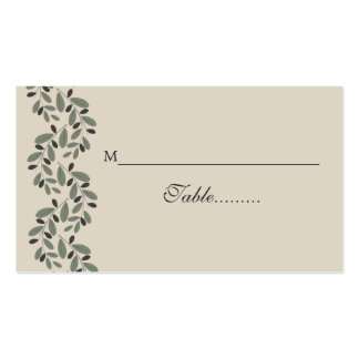 Olive branch business cards and business card templates for Double sided place card template