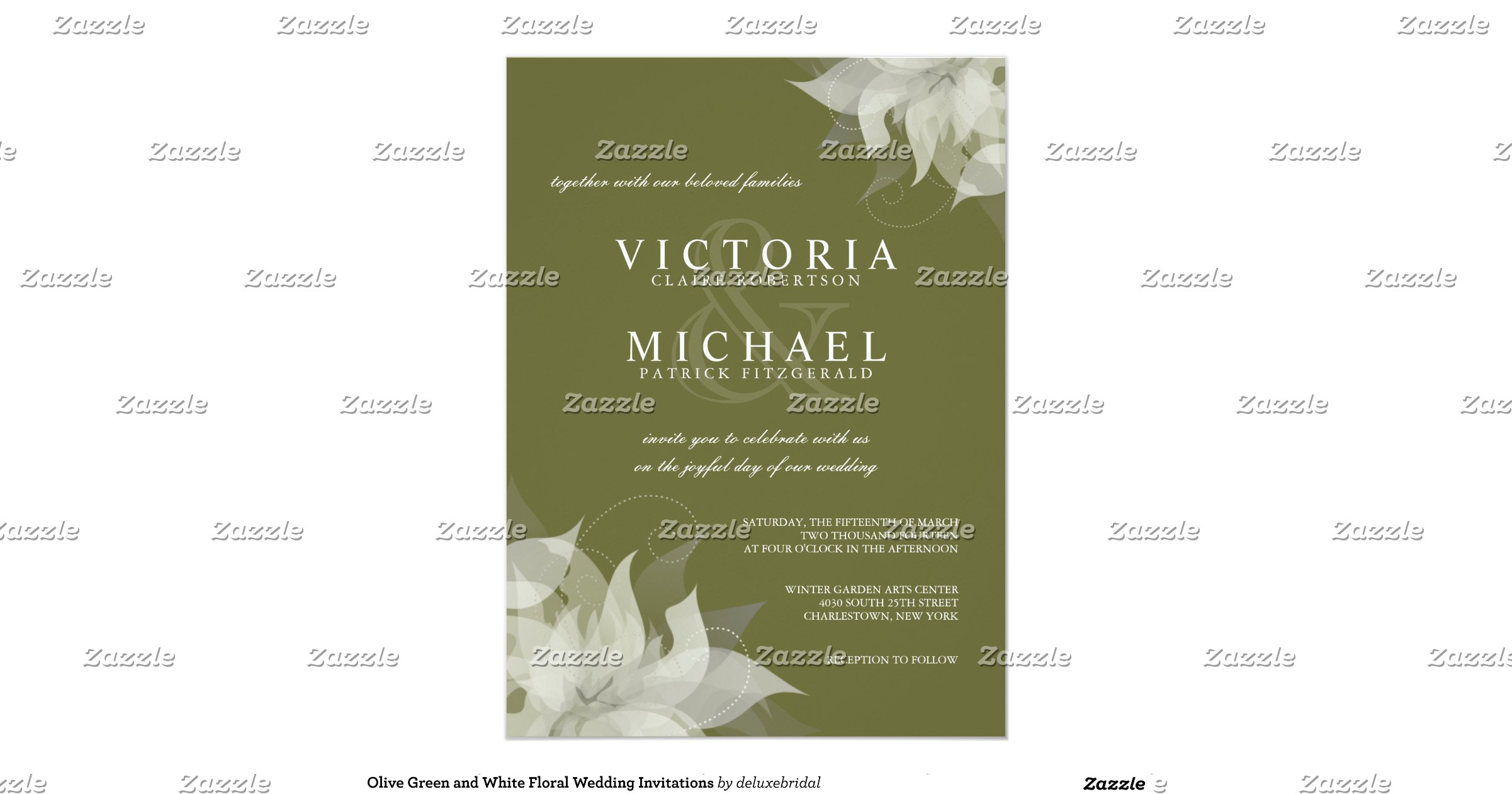 White And Green Wedding Invitations: Olive_green_and_white_floral_wedding_invitations