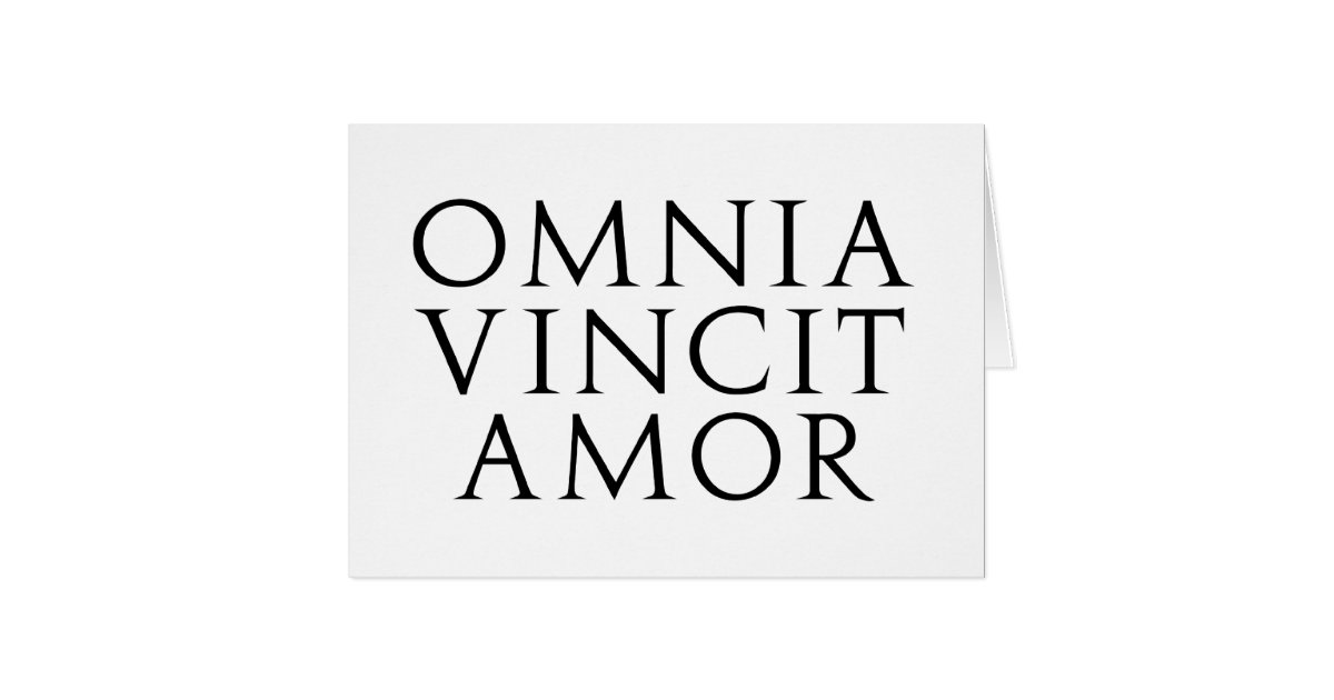 omnia vincit amor card zazzle. Black Bedroom Furniture Sets. Home Design Ideas