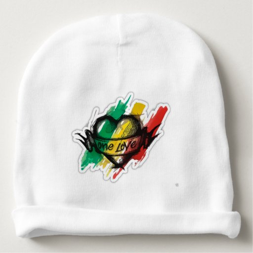 one love rasta reggae graffiti flag baby beanie | Zazzle