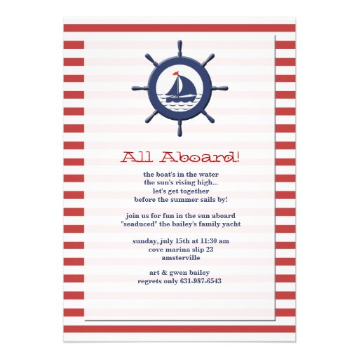 Personalized Sail Boat Invitations